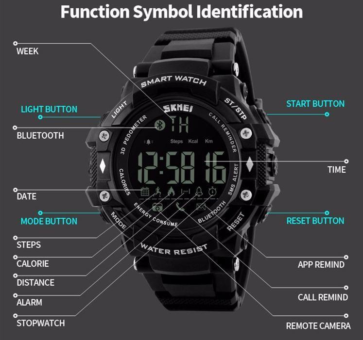 Jam Tangan Smartwatch Sport Tracker SKMEI DG1226 BL