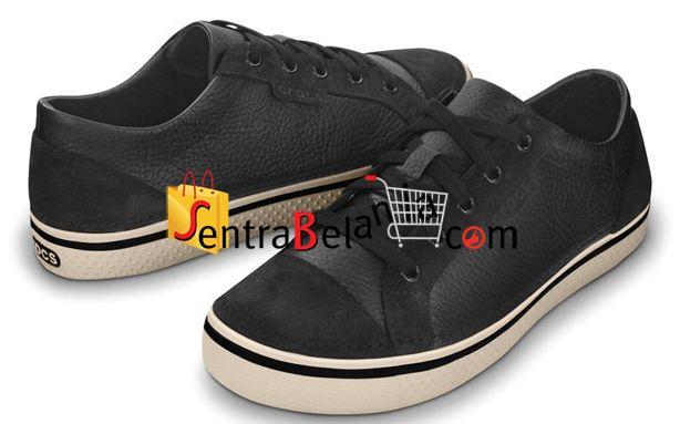 Sepatu Crocs Hover Lace Up Leather Black