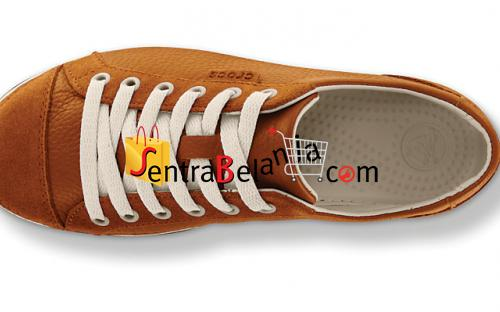 Sepatu Crocs Hover Lace Up Leather Chesnut
