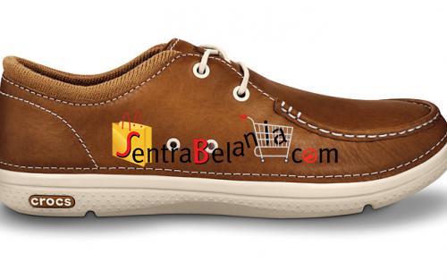 Sepatu Crocs Thompson Lace Leather Hazelnut